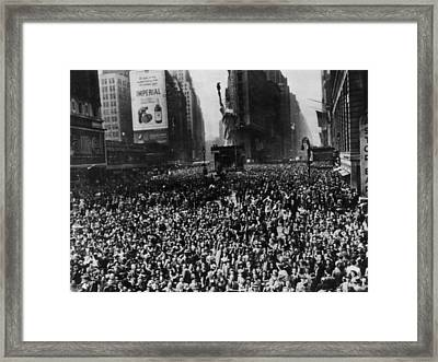 Crowds In Times Square, New York Framed Print by Everett
