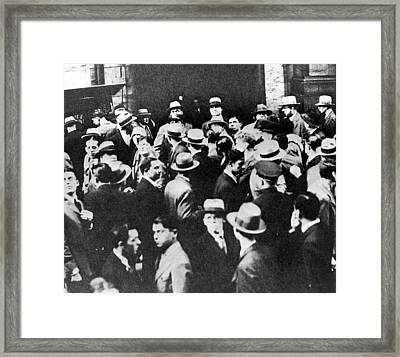 Crowds Outside The New York Stock Framed Print