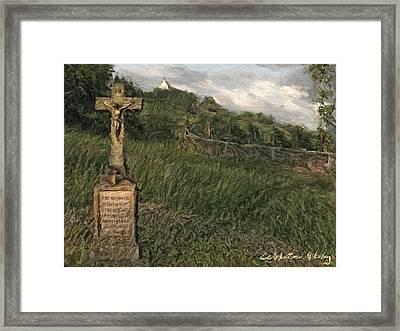 Crucifix By The Roadside Framed Print by Nikolay Vakatov