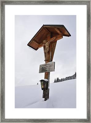 Crucifix In Winter Landscape Framed Print