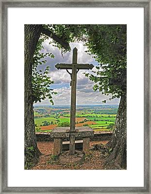 Framed Print featuring the photograph Crucifix Overlooking The French Countryside by Dave Mills