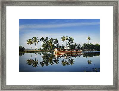 Cruise Boat Sailing Along Kerala's Backwaters Framed Print by Felix Hug