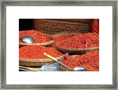 Crushed Chili Peppers Framed Print by Valentino Visentini