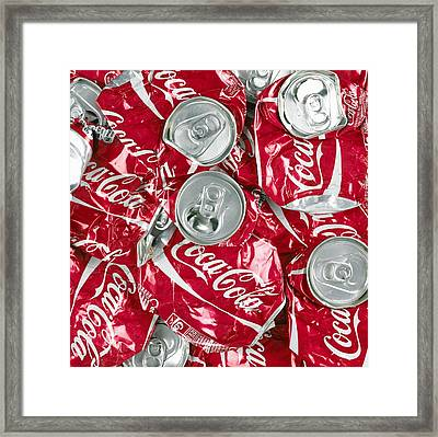 Crushed Coca Cola Can Framed Print by Mark Sykes