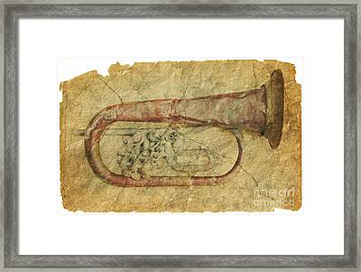 Crushed Trumpet In Grunge Style Framed Print by Michal Boubin