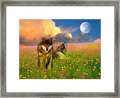 Cry At The Moon Framed Print by Georgiana Romanovna