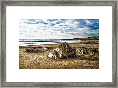 Framed Print featuring the painting Crystal Cove Sea Shore by Gregory Dyer