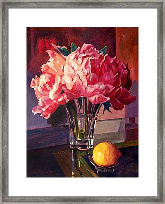 Crystal Pink Peonies Framed Print by David Lloyd Glover