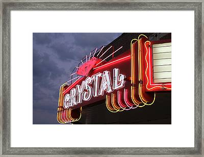 Crystal Theater Neon Framed Print