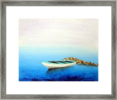 Framed Print featuring the painting Crystal Water Of The Mediterranean by Larry Cirigliano
