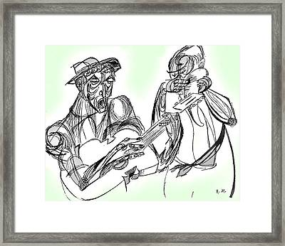 Cuatro Y Guicharo Framed Print by Nora Martinez