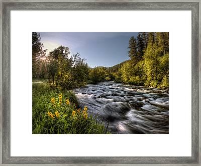 Cub River Spring Sunrise Framed Print by Leland D Howard