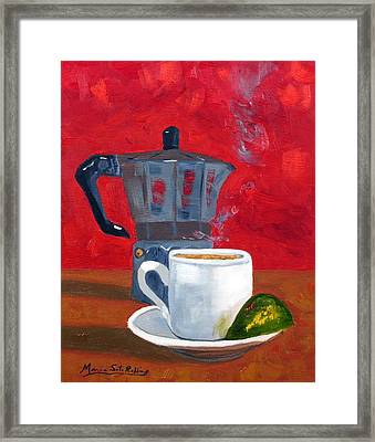 Cuban Coffee And Lime Red 62012 Framed Print by Maria Soto Robbins