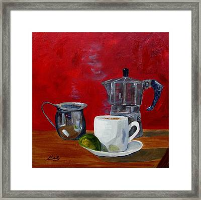Cuban Coffee Lime And Creamer 2 Framed Print by Maria Soto Robbins