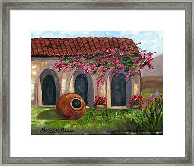 Cuban Courtyard With Tinajon And Bougainvillea Framed Print by Maria Soto Robbins