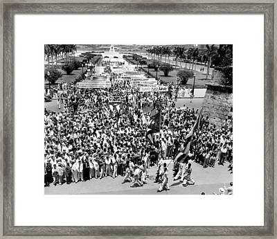 Cuban Political Demonstration Supported Framed Print by Everett