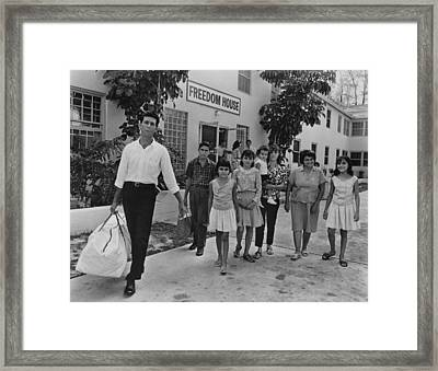 Cuban Refugee Family In Miami, Florida Framed Print