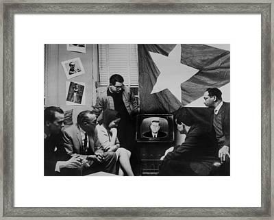 Cuban Refugees Gather Watch President Framed Print