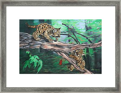 Framed Print featuring the painting Cubs At Play by Wendy Shoults