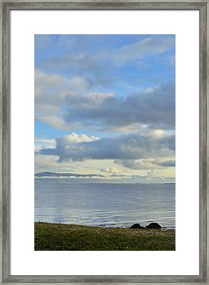Framed Print featuring the photograph Cumulus Clouds Sea And Mountains Reykjavik Iceland by Marianne Campolongo