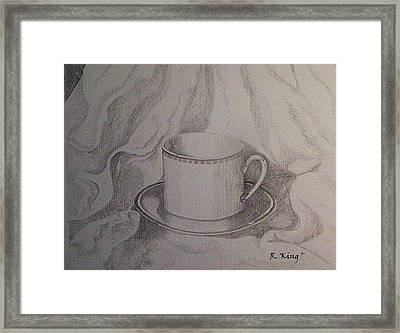 Framed Print featuring the drawing Cup And Saucer On Material by Roena King