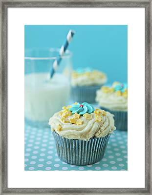 Cup Cake With Stars Topping Framed Print