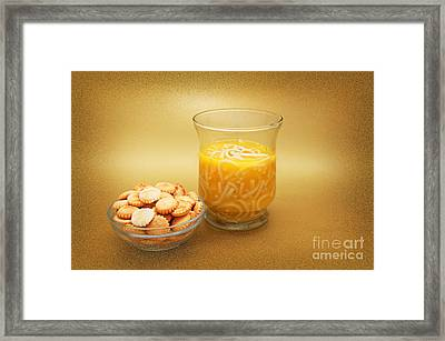 Cup O Soup And Oyster Crackers Framed Print by Andee Design