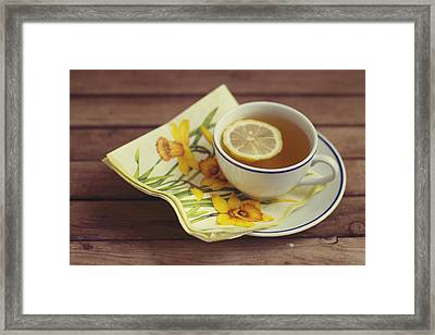 Cup Of Tea With Lemon Framed Print by Copyright Anna Nemoy(Xaomena)