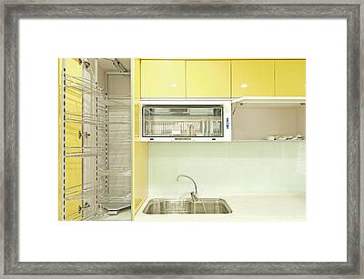 Cupboard With Stainless Steel Metal Framed Print