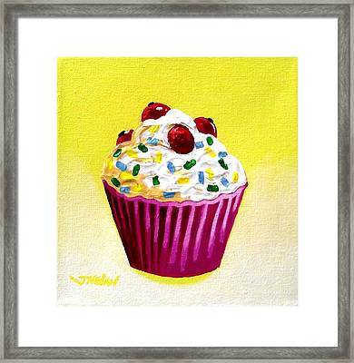 Cupcake With Cherries Framed Print by John  Nolan