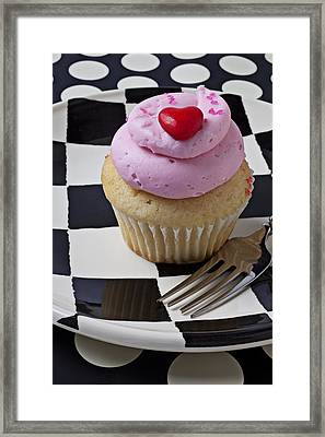 Cupcake With Heart On Checker Plate Framed Print by Garry Gay