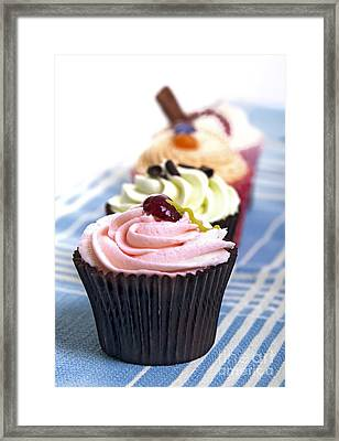 Cupcakes On Tablecloth Framed Print by Jane Rix