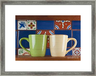 Cups In Front Of Colorful Tile Framed Print