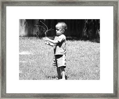 Framed Print featuring the photograph Curious Boy by Ester  Rogers