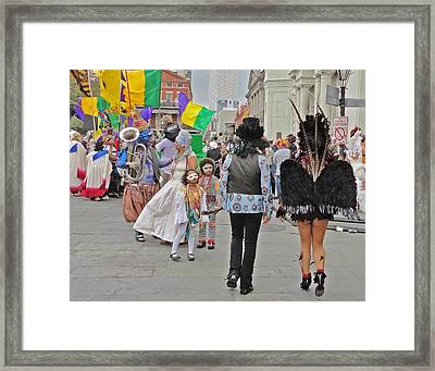 Curious Children On Mardi Gras In New Orleans Framed Print