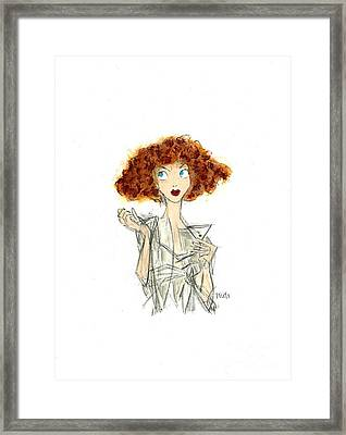 Curly Haired Girl Framed Print by Turtle Caps