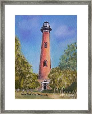 Framed Print featuring the pastel Currituck Lighthouse Nc by Julie Brugh Riffey
