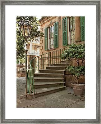 Curved Steps In Savannah Framed Print by Sandra Anderson
