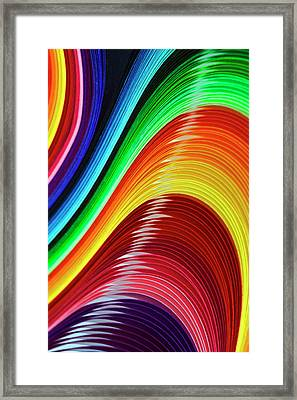 Curves Of Colored Paper Framed Print by Image by Catherine MacBride
