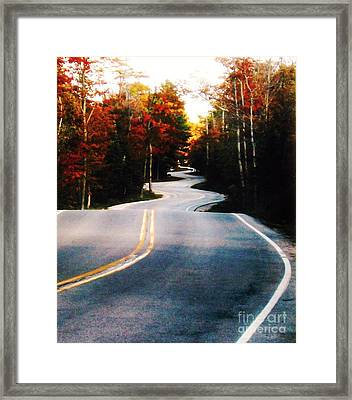 Curvy Road In The Fall Framed Print