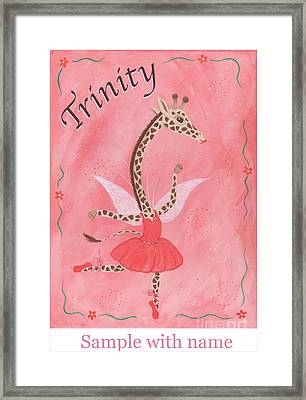 Custom Name Child's Giraffe Ballerina Framed Print by Kristi L Randall