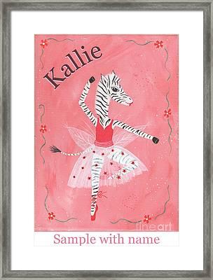 Custom Name Child's Zebra Ballerina Framed Print by Kristi L Randall