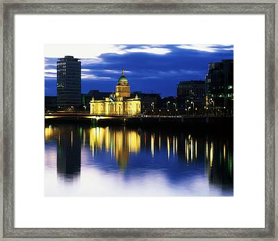 Customs House And Liberty Hall, River Framed Print by The Irish Image Collection
