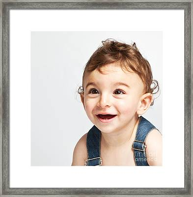 Cute Baby Boy Isolated On White Background Framed Print by Anna Om