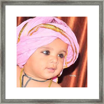 Cute Baby Photo Framed Print by Chirag Arts