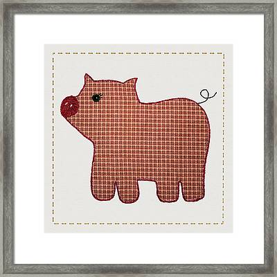 Cute Country Style Pink Plaid Pig Framed Print by Tracie Kaska