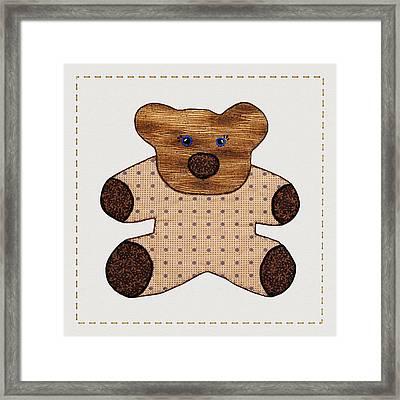 Cute Country Style Teddy Bear Framed Print by Tracie Kaska