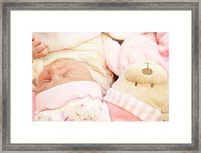 Cute Little Baby Sleeping Framed Print by Anna Om