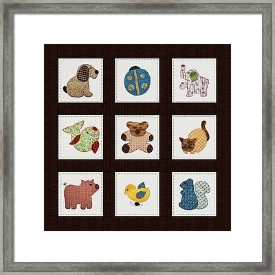 Cute Nursery Animals Baby Quilt Framed Print by Tracie Kaska