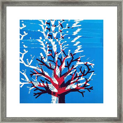 Cyan Magenta Tree Framed Print by Catarina Bessell